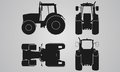 Front, Back, Top And Side Tractor Projection Stock Photos - 61758413
