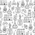 Seamless Pattern Of Alchemy Vintage Lab Symbols. Royalty Free Stock Images - 61761669