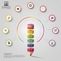 Colorful Pencil Infographics. Modern Design Template. Vector Illustration Royalty Free Stock Photography - 61763027
