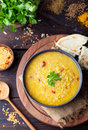Red Lentil Indian Soup With Flat Bread. Masoor Dal. Royalty Free Stock Image - 61763246
