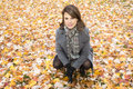 Beautiful Pregnant Woman In The Autumn Park Royalty Free Stock Photography - 61772657