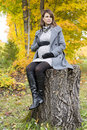 Beautiful Pregnant Woman In The Autumn Park Stock Photography - 61772722