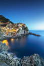 Manarola Village, Rocks And Sea At Sunset. Cinque Terre, Italy Royalty Free Stock Images - 61781299