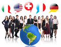Business People Near Big Earth And Flag Bubbles Royalty Free Stock Photo - 61788115