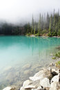 Morning Mist Rising From  Turquoise Lake Royalty Free Stock Image - 61795546