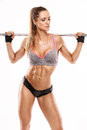 Nice Sexy Woman Doing Workout With Big Dumbbell, Retouched Royalty Free Stock Image - 61799836