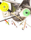 Closeup Ice Fishing Tackles And Equipment Stock Images - 61801794