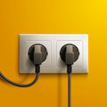 Realistic Electric White Double Socket And Two Royalty Free Stock Photo - 61803425
