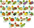 Color Alphabet For Children: Fruits And Vegetables Royalty Free Stock Images - 61808529