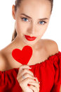 Portrait Of Beautiful Girl With Red Heart Royalty Free Stock Images - 61811689