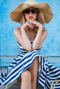 Summer Portrait Of A Woman In A Straw Hat Stock Photos - 61812143