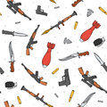 Seamless Pattern With Different Weapon Scattered By Doodle. Handmade Bombs Stock Images - 61825884