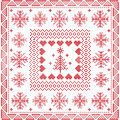 Scandinavian Style Nordic Winter Stitch, Knitting Seamless Pattern In The Square, Tile  Shape Including Snowflakes, Christmas Tree Royalty Free Stock Photos - 61835088
