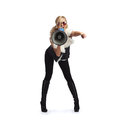 Woman With Megaphone Stock Image - 61838861