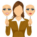 Faceless Woman Holding Happy And Angry Mask Royalty Free Stock Photo - 61852865