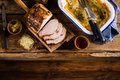 Roasted Pork Loin On The Old Table Royalty Free Stock Photos - 61858078