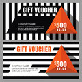 Vector Gift Voucher With Striped Pattern And Orange Pyramid. Royalty Free Stock Photo - 61858845