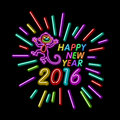 Vector Illustration Of 2016 New Year Outline Neon Light BAckground For Design, Website, Banner. Holiday Party Element Template. Ch Royalty Free Stock Photo - 61896715