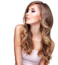 Profile Of A Beautiful Woman With Long Wavy Hair Stock Images - 61902934