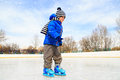 Cute Little Boy Learning To Skate In Winter Stock Photography - 61906942