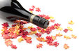 Red Wine On Autumn Leaves Stock Images - 61912424