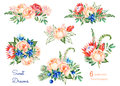 Colorful Floral Collection With Roses,flowers,leaves,protea,blue Berries,spruce Branch,eryngium. Stock Photos - 61916143