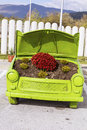 Flowers Under The Hood Of An Old Car Royalty Free Stock Photo - 61924205