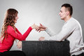 Man And Woman First Date. Handshake Greeting. Royalty Free Stock Photography - 61924617