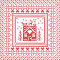Scandinavian Nordic Winter Stitch, Knitting  Pattern In  Square, Tile  Shape Including Snowflakes, Trees, Gingerbread Houses, Hear Stock Photo - 61924790