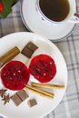 Two Small Raspberry Cakes And Cup Of Coffee Stock Photography - 61927052