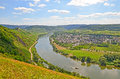 View To River Moselle And Marienburg Castle Near Village Puenderich - Mosel Wine Region In Germany Royalty Free Stock Images - 61928309