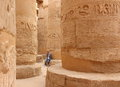 Young Beautiful Woman Taking Pictures Between The Columns Of The Hypostyle Hall Of Karnak S Temple In Luxor, Egypt Royalty Free Stock Photos - 61928638