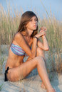 Lovely Teen With Skinny Body On Sand Stock Photo - 61929140