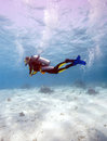 Silhouette Of Scuba Diver Near Sea Bottom Royalty Free Stock Photo - 61929895