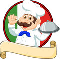 Cartoon Funny Chef With A Moustache Holding A Silver Platter Stock Photos - 61939623