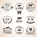 Butcher Retro Emblems And Labels Set,  Design Elements And Templ Royalty Free Stock Images - 61952239
