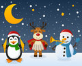 Snowman Penguin Reindeer On The Snow Royalty Free Stock Image - 61957146