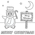 Coloring Christmas Card With Penguin Royalty Free Stock Image - 61958566
