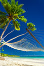 Empty Hammock Under Palm Trees On A Beach Of Fiji Islands Stock Images - 61966874