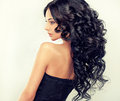 Beautiful Girl Model With Long Black Curled Hair Royalty Free Stock Photography - 61980167