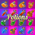 Big Set Of Different Magic Bottles With Potion Royalty Free Stock Images - 61981059