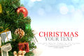 Christmas Tree Background With A Red Ornament Gift Box Berries A Royalty Free Stock Photo - 61981525