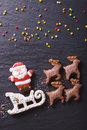 Gingerbread Santa On Sleigh Pulled By Reindeers Closeup. Vertica Stock Photography - 61983852