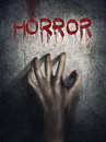 Horror Scene. Hand On Wall Backround. Poster, Cover Concept. Stock Images - 61985344
