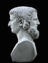 Janus Sculpture On A Black Background Royalty Free Stock Image - 61985356