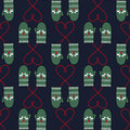 Winter Mittens Seamless Pattern With Hearts For Xmas Holiday. Stock Photography - 61998952