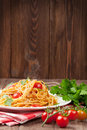 Spaghetti Pasta With Tomatoes And Parsley Stock Photos - 62000063