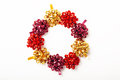 Festive Wreath Of Colorful Christmas Bows Isolated On White Stock Images - 62012414