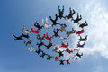 Skydiving Big Group Of People Formation Royalty Free Stock Image - 62015026