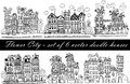 Flower City - A Set Of 6  Illustrations With Funny Fantasy Houses In The Doodle Style Royalty Free Stock Photo - 62032745